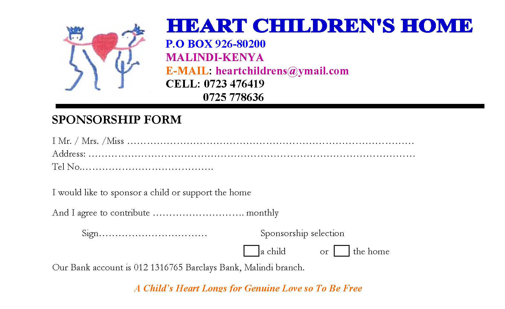 Heart Childrens home - Sponsorship form 1